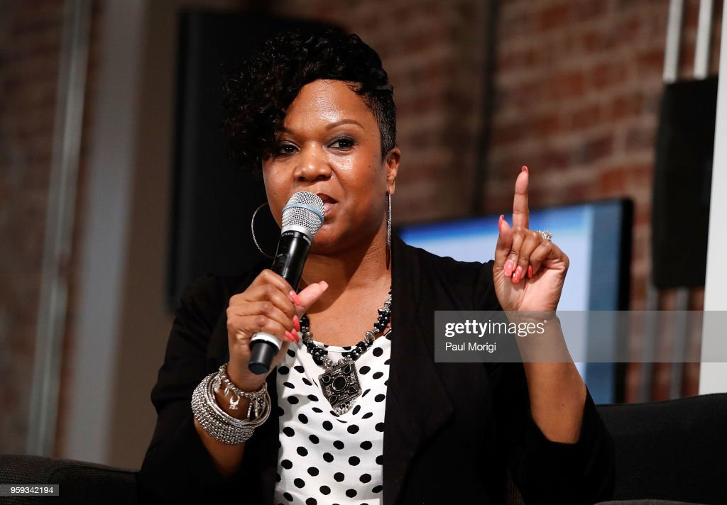 Singer and songwriter Tracy Hamlin moderates a panel discussion at the Vocal Health Clinic event hosted by The Recording Academy WDC Chapter and MusiCares at the National Union Building on May 16, 2018 in Washington, DC.