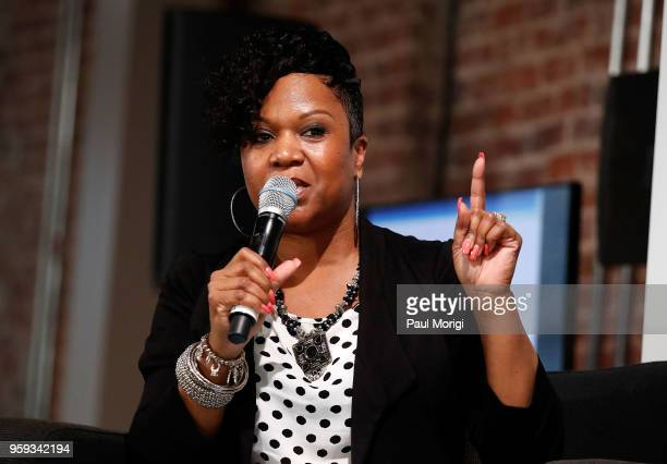 Singer and songwriter Tracy Hamlin moderates a panel discussion at the Vocal Health Clinic event hosted by The Recording Academy WDC Chapter and...