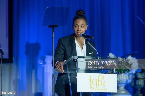 Singer and songwriter Tyra B speaks onstage during The 6th Annual Gentlemen's Ball at Atlanta Marriott Marquis on September 30 2017 in Atlanta Georgia