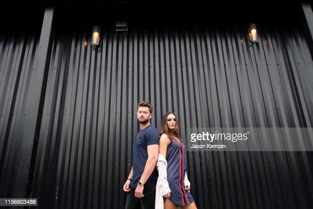 Singer and songwriters Adam Doleac and Lacy Cavalier are seen outside The Back Corner on June 17 2019 in Nashville Tennessee