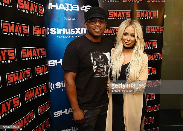 Singer and TV personality Aubrey O'Day visits 'Sway In The Morning' on Eminem's Shade 45 channel with Sway Calloway at the SiriusXM Studios on June 9...