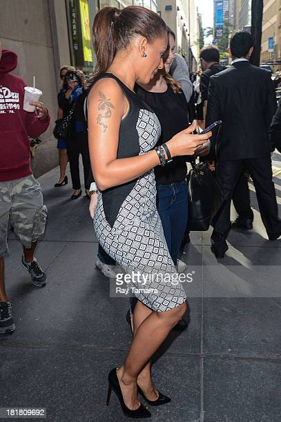 Singer and TV personality Melanie Brown leaves the 'Today Show' taping at the NBC Rockefeller Center Studios on September 25 2013 in New York City