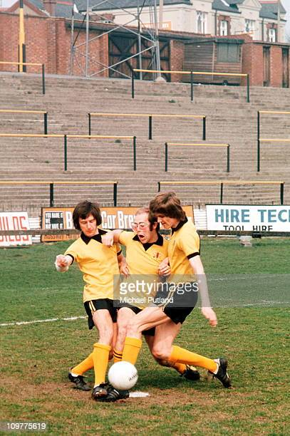 Singer and vicepresident of Watford FC Elton John playing football at Vicarage Road in Watford England in November 1973