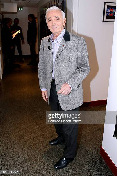 Singer and writer Charles Aznavour attends the 'Vivement Dimanche' French TV Show at Pavillon Gabriel on November 6 2013 in Paris France