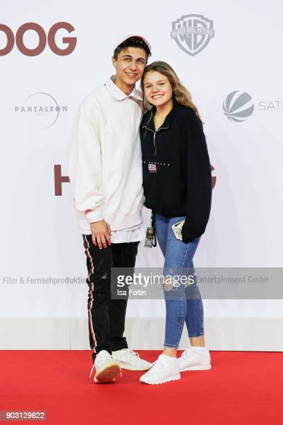 Singer and youtube star Lukas Rieger and youtube star and actress Faye Montana attend the 'Hot Dog' world premiere at CineStar on January 9 2018 in...