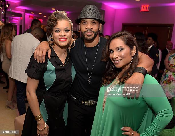 Singer Andra Day actor Aaron D Spears and Estela Lopez Spears attend the 2015 BET Awards Debra Lee PreDinner at Sunset Tower Hotel on June 24 2015 in...
