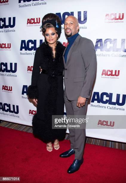 Singer Andra Day and hiphop artist Common arrive at ACLU SoCal's Annual Bill of Rights Dinner at the Beverly Wilshire Four Seasons Hotel on December...