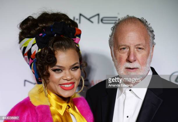 Singer Andra Day and record producer Adrian Gurvitz arrive at the 3rd Annual Hollywood Beauty Awards at Avalon Hollywood on February 19 2017 in Los...