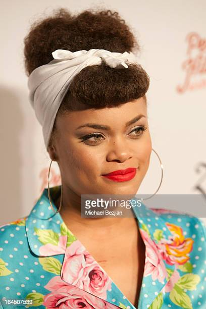 Singer Andra Day arrives at Perez Hilton's 35th Birthday Party Extravaganza - Arrivals at El Rey Theatre on March 23, 2013 in Los Angeles, California.