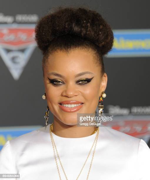 Singer Andra Day arrives at the premiere of Disney And Pixar's 'Cars 3' at Anaheim Convention Center on June 10 2017 in Anaheim California