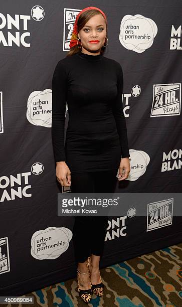Singer Andra Day attends Montblanc and Urban Arts Partnership's 24 Hour Plays in Los Angeles at The Shore Hotel on June 20 2014 in Santa Monica...