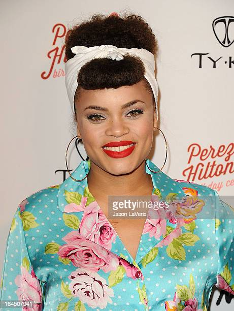 Singer Andra Day attends Perez Hilton's 35th birthday party at El Rey Theatre on March 23, 2013 in Los Angeles, California.