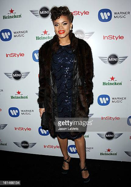 Singer Andra Day attends the Warner Music Group 2013 Grammy celebration at Chateau Marmont on February 10, 2013 in Los Angeles, California.