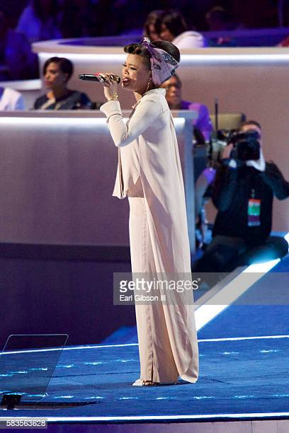 Singer Andra Day performs at the 2016 Democratic National Convention Day 2 at Wells Fargo Center on July 26, 2016 in Philadelphia, Pennsylvania.