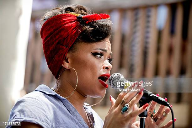 Singer Andra Day performs at the WBR 'Summer Sessions' Featuring Andra Day at Warner Bros. Records Boutique Store on June 28, 2013 in Burbank,...