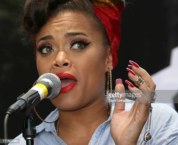 """Singer Andra Day performs on stage during WBR """"Summer Sessions"""" at Warner Bros. Records Boutique Store on June 28, 2013 in Burbank, California."""