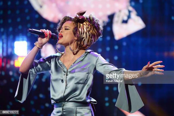 Singer Andra Day performs onstage during 'Stayin' Alive A GRAMMY Salute To The Music Of The Bee Gees' on February 14 2017 in Los Angeles California