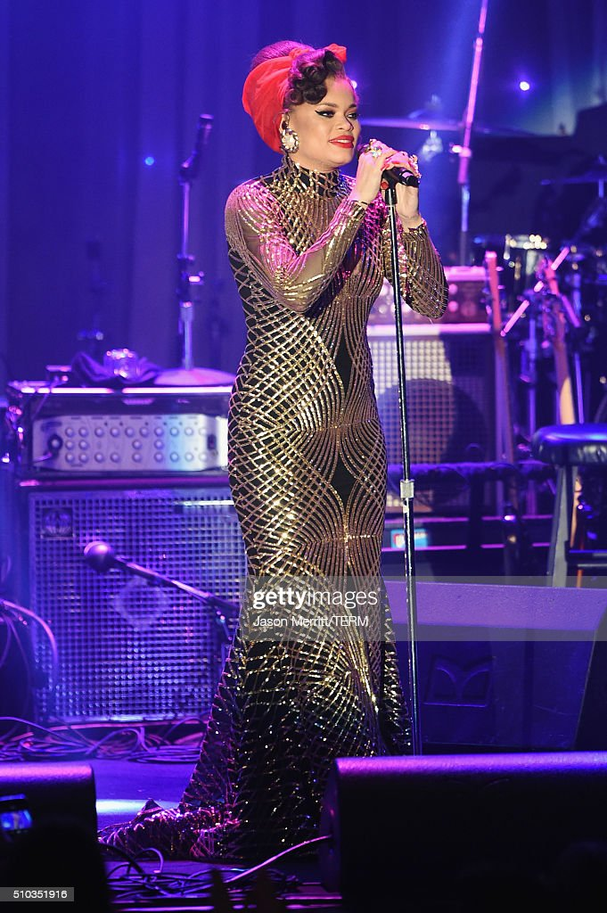 Singer Andra Day performs onstage during the 2016 Pre-GRAMMY Gala and Salute to Industry Icons honoring Irving Azoff at The Beverly Hilton Hotel on February 14, 2016 in Beverly Hills, California.