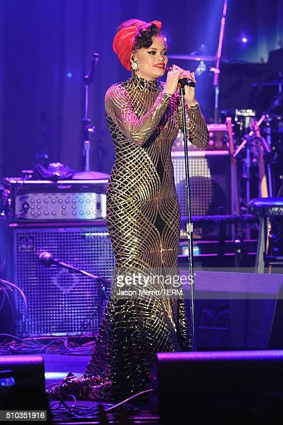 Singer Andra Day performs onstage during the 2016 PreGRAMMY Gala and Salute to Industry Icons honoring Irving Azoff at The Beverly Hilton Hotel on...