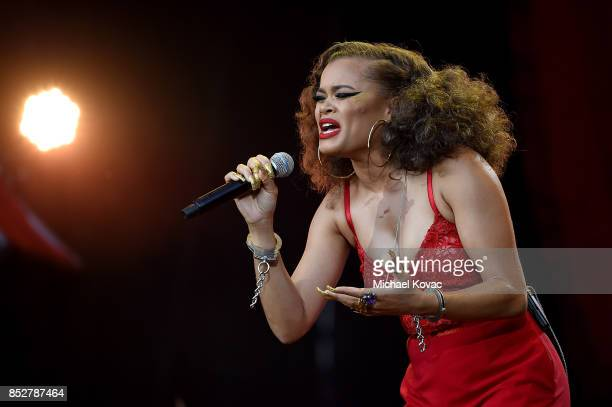 Singer Andra Day performs onstage during the 2017 Global Citizen Festival in Central Park to End Extreme Poverty by 2030 at Central Park on September...
