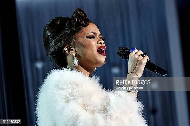 Singer Andra Day performs onstage during The 58th GRAMMY Awards at Staples Center on February 15 2016 in Los Angeles California