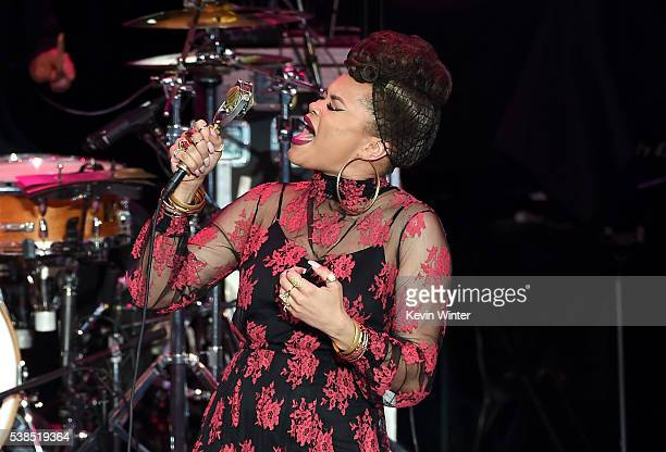 Singer Andra Day performs onstage during the 'Hillary Clinton She's With Us' concert at The Greek Theatre on June 6 2016 in Los Angeles California