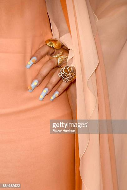 Singer Andra Day ring and nail detail attends The 59th GRAMMY Awards at STAPLES Center on February 12 2017 in Los Angeles California