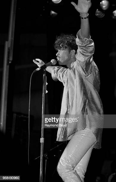 Singer Andre Cymone performs at the UIC Pavilion in Chicago Illinois in January 1985