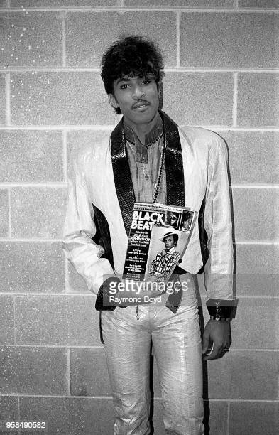Singer Andre Cymone poses for photos backstage at the UIC Pavilion in Chicago Illinois in January 1985