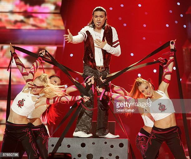Singer Andre of Armenia performs at the semifinals of the 2006 Eurovision Song Contest May 18 2006 in Athens Greece