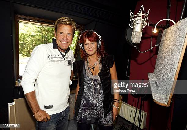 Singer Andrea Berg and Producer Dieter Bohlen pose for a picture during the recording of Andrea Berg's new album on August 2 2011 in Handeloh near...