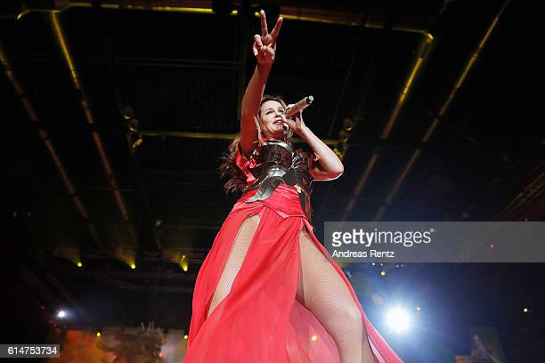 Singer Andrea Berg performs live during the first concert of her new tour 'Seelenleben' at KoenigPALAST on October 14 2016 in Krefeld Germany Berg...