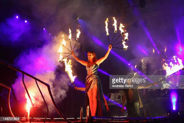 Singer Andrea Berg performs on stage during the 'Abenteuer' tour at the comtech Arena on July 21, 2012 in Aspach near Stuttgart, Germany.