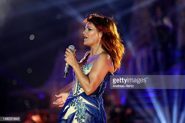 Singer Andrea Berg performs on stage during the 'Abenteuer' tour at the comtech Arena on July 21 2012 in Aspach near Stuttgart Germany