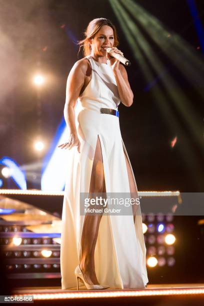 Singer Andrea Berg performs on stage during the rehearsal for the 'Starnacht am Woerthersee' at Woertherseebuehne on July 21, 2017 in Klagenfurt,...