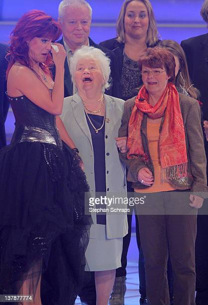 Singer Andrea Berg receives congratulations to her 45th birthday from her mother in law Ingrid Ferber and mother Helga Zellen during the MDR...