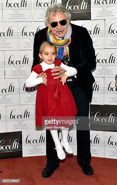 Singer Andrea Bocelli and daughter Virginia Bocelli attend the unveiling of a lifesize marble statue of him at the Cleveland Clinic Lou Ruvo Center...