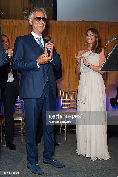 Singer Andrea Bocelli and HRH Princess Madeleine attend the World Childhood Foundation USA Thank You Gala 2016 at Cipriani 42nd Street on September...