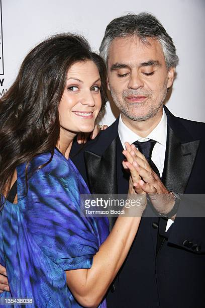 Singer Andrea Bocelli and Veronica Berti attend the Andrea Bocelli Foundation's 2011 benefit gala held at The Beverly Hilton hotel on December 9 2011...