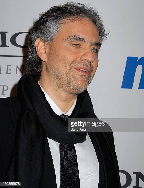 Singer Andrea Bocelli attends the 2008 Clive Davis PreGRAMMY party at the Beverly Hilton Hotel on February 9 2008 in Beverly Hills California