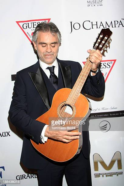 Singer Andrea Bocelli attends the Andrea Bocelli Foundation's 2011 benefit gala held at The Beverly Hilton hotel on December 9 2011 in Beverly Hills...