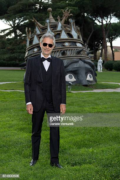 Singer Andrea Bocelli attends 'The Music of Silence' by Michael Radford On set with Andrea Bocelli and AMBI Media Group producers at Cinecitta on...