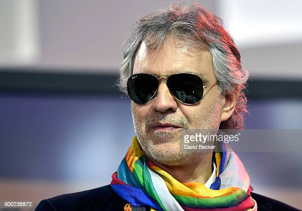 Singer Andrea Bocelli attends the unveiling of a lifesize statue of himself at the Cleveland Clinic Lou Ruvo Center for Brain Health on December 6...