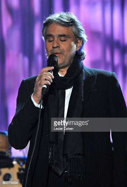Singer Andrea Bocelli during the 2008 Clive Davis PreGRAMMY party at the Beverly Hilton Hotel on February 9 2008 in Los Angeles California