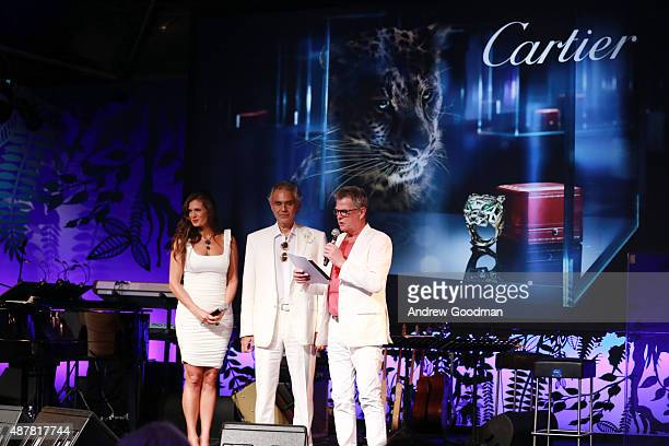Singer Andrea Bocelli his wife Veronica and musician David Foster attend the white party dinner hosted by Andrea and Veronica Bocelli sponsored by...