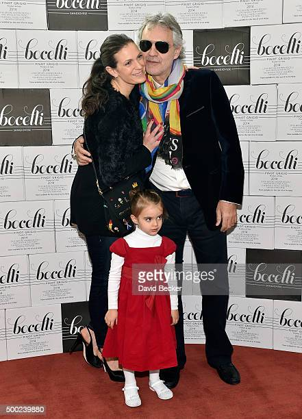 Singer Andrea Bocelli his wife Veronica Bocelli and daughter Virginia Bocelli attend the unveiling of a lifesize marble statue of him at the...