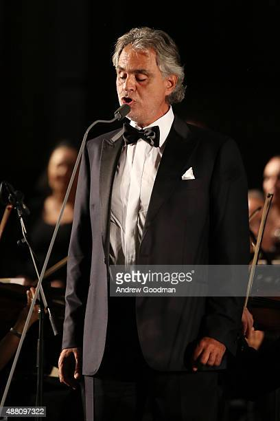 Singer Andrea Bocelli performs at the Celebrity Fight Night gala at Palazzo Vecchio during 2015 Celebrity Fight Night Italy benefiting the Andrea...