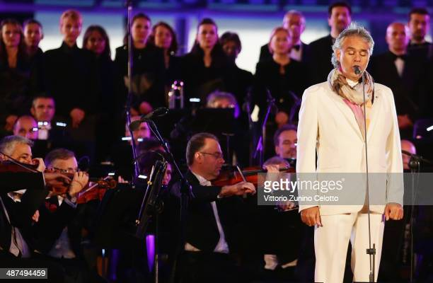 Singer Andrea Bocelli performs for the celebration of the countdown to Expo 2015 on April 30 2014 in Milan Italy