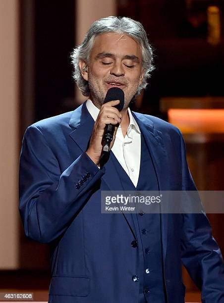Singer Andrea Bocelli performs onstage during Stevie Wonder Songs In The Key Of Life An AllStar GRAMMY Salute at Nokia Theatre LA Live on February 10...