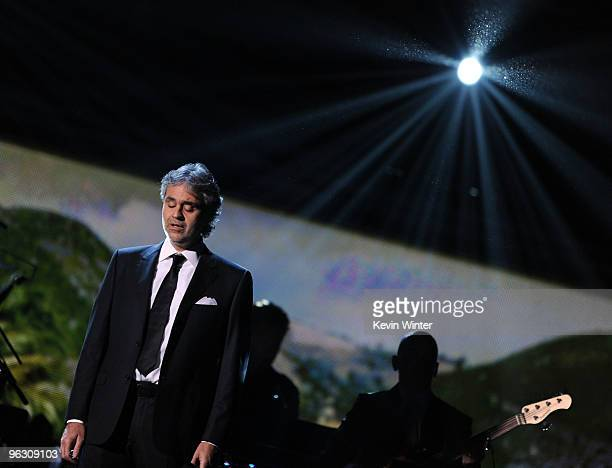 Singer Andrea Bocelli performs onstage during the 52nd Annual GRAMMY Awards held at Staples Center on January 31, 2010 in Los Angeles, California.